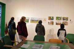 Schüler schauen sich die Ausstellung an